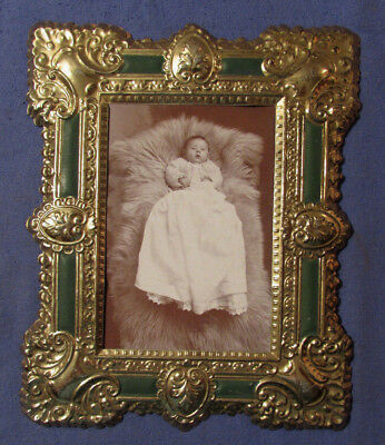 Antique 1890S Baby Photo In Tin Frame 8 1/2 X 7 Inches