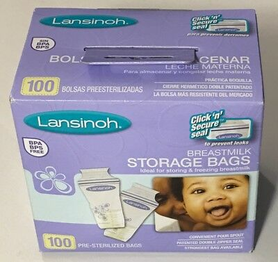 Lansinoh Breastmilk Breast Pump Storage Bags 100 Count #20470 - New Sealed!