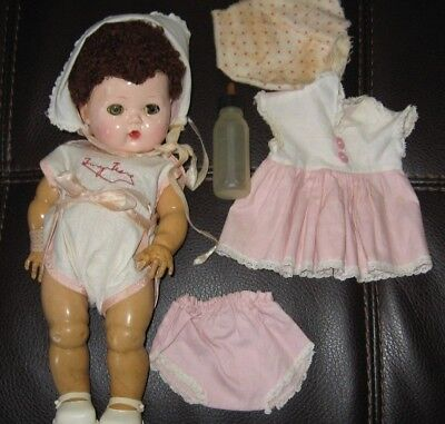 """Tiny Tears VNTG American Character Doll 12"""" Caracul Wig Org clothes Extras TLC"""