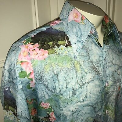 Vtg 60s 70s Kings Road SEARS Mens LARGE Floral Maps Disco POLYESTER Button shirt