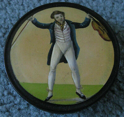 Antique Round Lacquered Papier Mache SNUFF BOX of Violin Player England 1800's