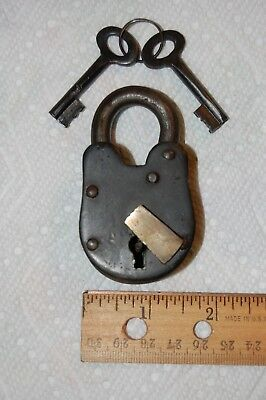 Small Iron Skeleton Key Padlock Western Pirate style Heavy Duty Working Lock