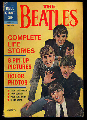 The Beatles #1 Scarce (Has Color Pin-Up Posters) Dell Giant Comic 1964 GD-VG