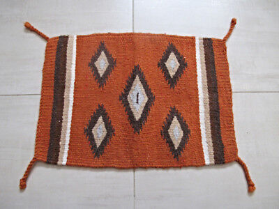 Vintage Zapotec Mexico hand woven wool small rug