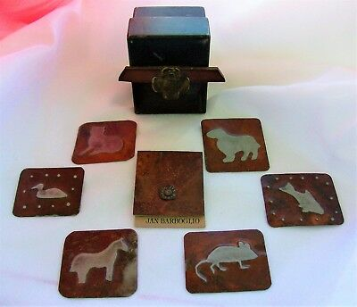 JAN BARBOGLIO Rustic Cast Iron PET BLESSING BOX, CARD & 6 Metal Critter Milagros