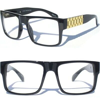 754ca850a5f Bold Frame Clear Lens Glasses Chain Link Design Sides Square Aviator BLACK