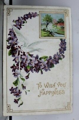 Greetings Wish For Happiness Postcard Old Vintage Card View Standard Souvenir PC