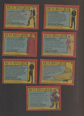 Lot of 7 Star Wars Return of the Jedi trading cards, pulished 1983