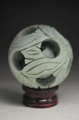 Exquisite Chinese Nature Jade Hand Engraving Hollow Out Fortune Ball