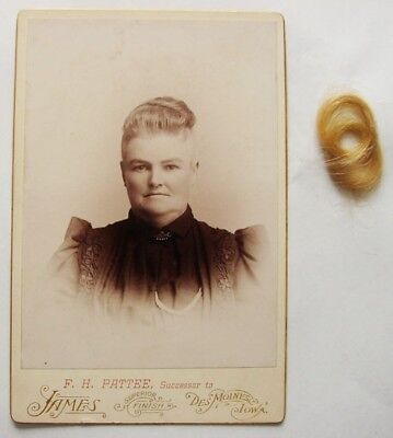 Victorian Cabinet Card Photo ~ Woman Portrait with Lock of Hair