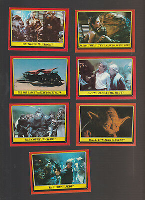 Lot of 7 Star Wars Return of the Jedi trading cards, published 1983