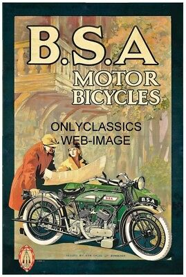 1930's VINTAGE BSA MOTOR BICYCLE 11X17 POSTER GREAT MOTOCYCLE GRAPHICS ART DECO