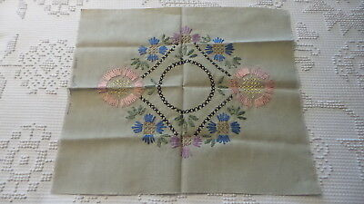 Antique Embroidered Pillow Cover Top PINK, BLUE, PURPLE FLORAL, #335