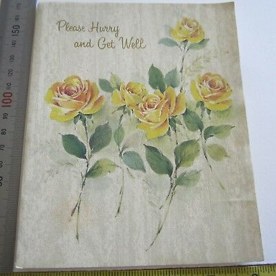 Vintage Greeting Card 1960s Yellow Roses Get Well Soon Pretty Glitter Art Paper