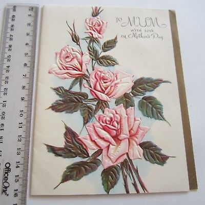 Vintage Greeting Card Mothers Day 1960s Embossed Roses Pink Art Paper Retro