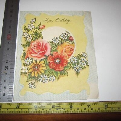 Vintage Greeting Card 1950s Beautiful Happy Birthday Yellow Pink Cut out 2nd art