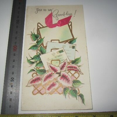 Vintage Greeting Card 1950s Goodbye Letters & Ribbon insert Pink Green Ivy Art