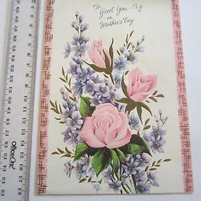 Vintage Greeting Card Mothers Day 1960s Embossed Roses Pink Art Paper Pretty