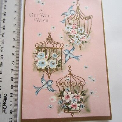 Vintage Greeting Card Get Well 1960s Blue Birds Embossed Pink Academy brand