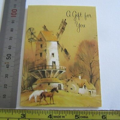 Vintage Greeting Card 1960s Gift For You Small Yellow Windmill Farm Horses New