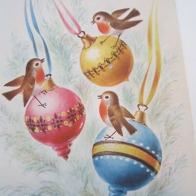 Vintage Greeting Card 1950s Christmas Baubles & Birds Colourful Art Paper Craft