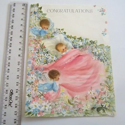 Vintage Greeting Card Baby Congratulatios 1960s novelty inside Art Paper Angels