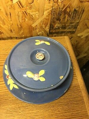 Coors Pottery ROSEBUD Blue Plate Platter & Covered Dish Bowl