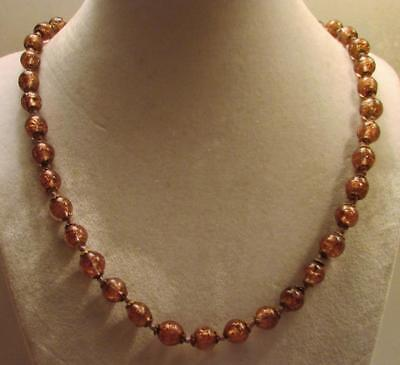 "Vintage 50's Long 25"" Art Murano Glass Bead Necklace Brown Gold"