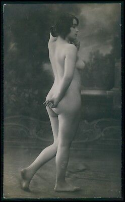 French ? nude woman hidding her butt original c1910-1920s photo postcard