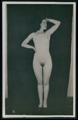 French ? British ? full nude woman original old 1920s photo postcard