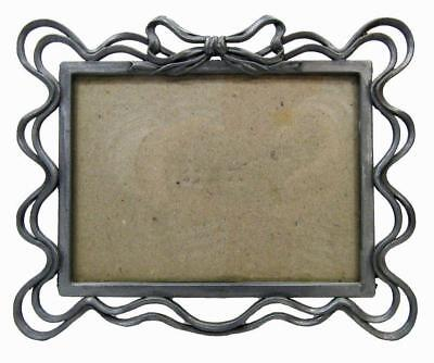 "Photo Picture Frame Free Standing 5"" x 6½"" Pewter Style Ribbon Bow"