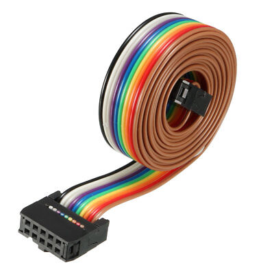 IDC 10 Pins Wire Flat Rainbow Ribbon Cable 118cm 2.54mm Pitch 1pcs