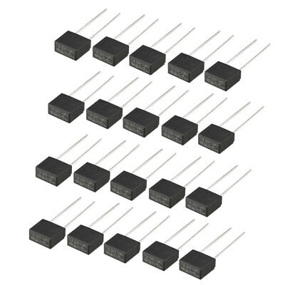 20Pcs DIP Mounted Miniature Square Slow Blow Micro Fuse T5A 5A 250V Black
