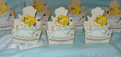 8 Vintage Christmas Angel Candy Treat Cups Paper Blonde Girl Made in Japan Lot