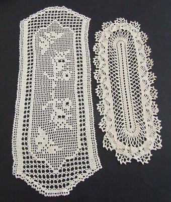 Two Beautiful Cream Vintage Hand Crocheted Sandwich Doilies
