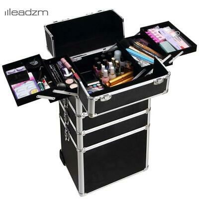 4 in 1 Aluminum Durable Rolling Makeup Case Cosmetic Organizer Trolley Black