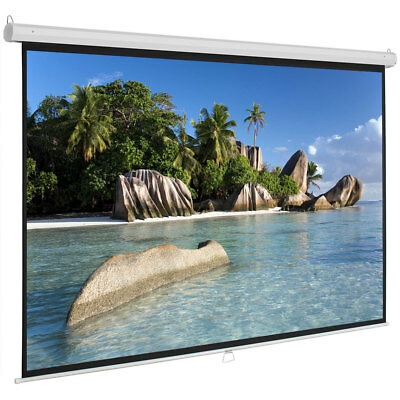 """100"""" 16:9 Manual Pull Down Projection Screen Home Theater Movie 87"""" x 49"""" White"""
