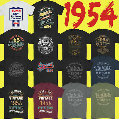 Mens Funny 65th Milestone Birthday T-Shirt 65 Year Old Gift Idea Present 1954