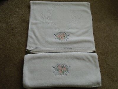 A Lovely Set Of 2 Cream Hand Towels, By Hadida, Had A Display Only.