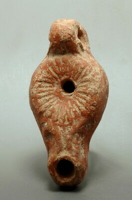 Byzantine Terracotta Oil Lamp Depicting Floral Motif (M72)