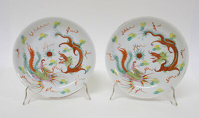 Pair Republic Period Chinese Polychrome Porcelain Plates Dragon Decoration