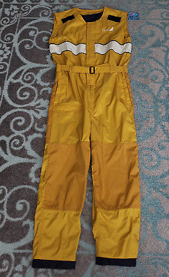 Drift Tex V Yellow Motorcycle Rain Suit Coverall One Piece - Size Large