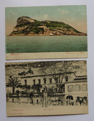 Gibraltar, The Library, Posted U.K. 1912, & From The Bay, Posted U.K. 1908,