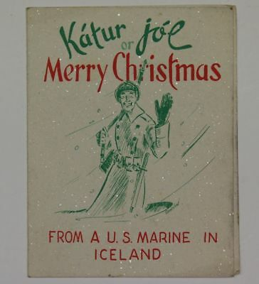 World War Ii Era Usmc Marine Corps Christmas Card From Iceland To Home-Front