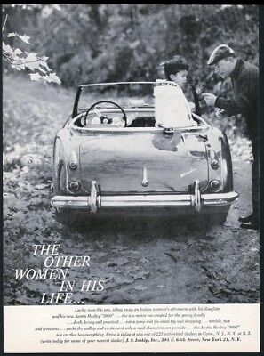 1960 Austin Healey 3000 car father daughter photo vintage print ad