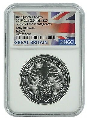 2019 Great Britain 2oz Silver Queens Beast Falcon NGC MS69 ER Flag Label