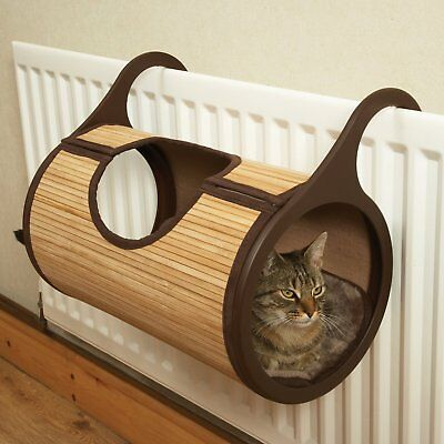 Luxury Cat Bed Tunnel Warm Radiator Bamboo Cradle Pod Basket by Rosewood