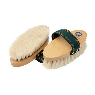 Equerry Wooden Body Brush With Leather Handle - Vale Brothers Whiteblack Color