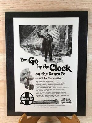 1950 You Go By The Clock On The Santa Fe...not By The Weather, Train Travel Ad