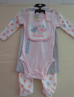 Carters Girls Size 9-Mos. 4-Pc. Set Pink/gray